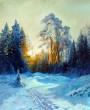 Зимний рассвет. Картина маслом. Заказ.