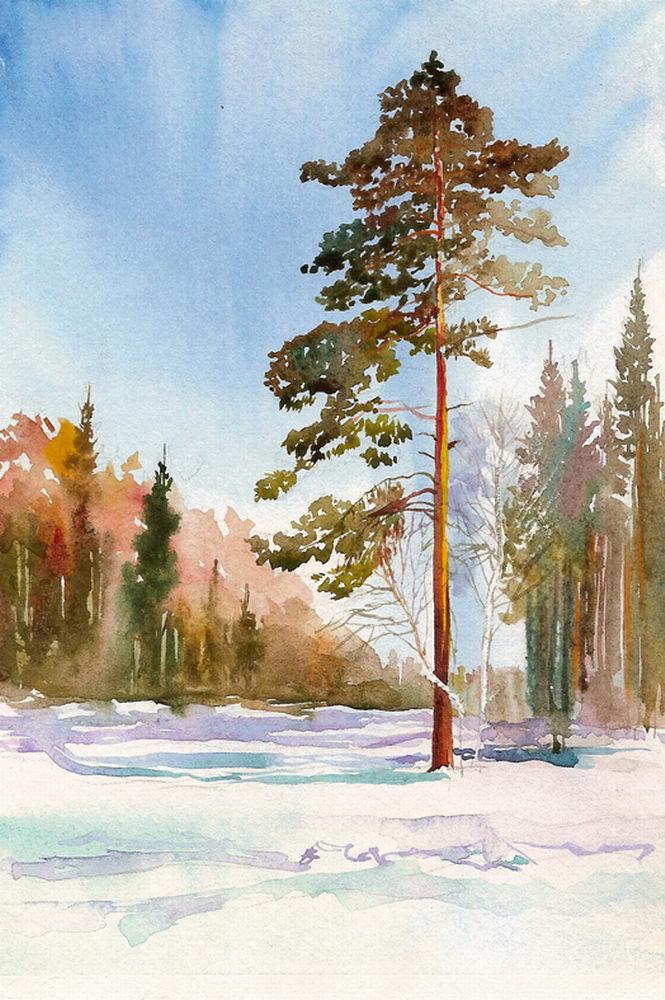 Пейзаж рисуем акварелью поэтапно 173